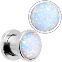 White Synthetic Opal Stainless Steel Screw Fit Plug Set
