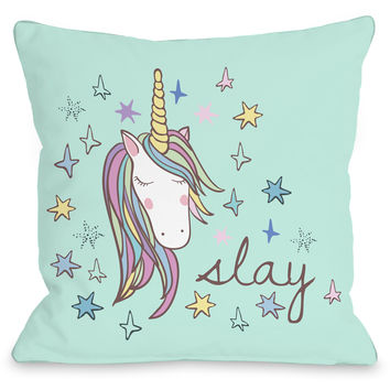 """Slay Unicorn"" Indoor Throw Pillow by OneBellaCasa, 16""x16"""
