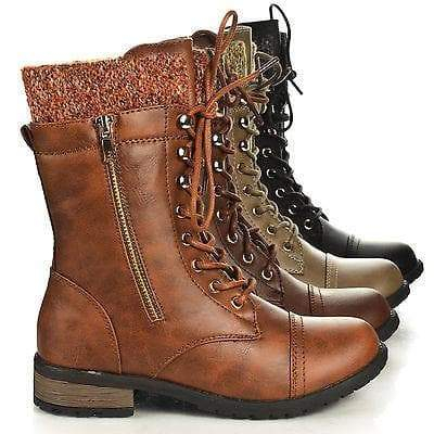 Image of Mango31 By Forever, Round Toe Military Lace Up Knitted Ankle Cuff Low Heel Combat Boots
