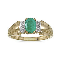 10kt Yellow Gold Oval Emerald and Diamond Ring