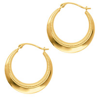 10K Yellow Gold Shiny And Milgrain Round Hoop Earrings