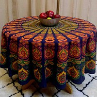 Peacock Mandala Cotton Floral Round Tablecloth Rectangle Rust Gold Green