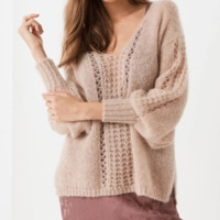 Explosion models casual loose solid color sweater sexy V-neck hollow sweater women