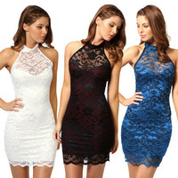 2016 Summer Lace Lace Sexy Halter Neck Package Hip Nightclub Clubbing Party Erotic Casual Party Playsuit Bodycon Boho Dress  _ 3702