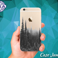 Black and White Tree Line Photography Tumblr Inspired iPhone 5 iPhone 5C iPhone 6 iPhone 6s iPhone 6s Plus and iPhone SE iPhone 7 Clear Case