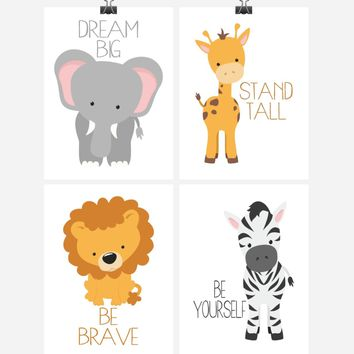 Safari Animals Motivational Nursery Art Print Set of 4 - Elephant Giraffe Zebra Lion - Multiple Sizes