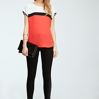 Colorblocked Chiffon Top
