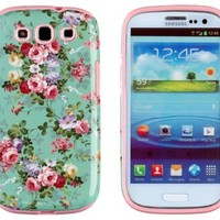 DandyCase 2in1 Hybrid High Impact Hard Vintage Sea Green Floral Pattern + Pink Silicone Case Cover For Samsung Galaxy S3 i9300 + DandyCase Screen Cleaner