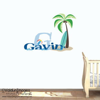 Beach surfer name nursery wall decal, nursery decor, kids decal, nautical wall decor, boys room decor, nursery decals, childrens name decal