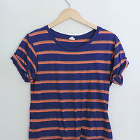 Women's Forever 21 I Love H81 Blue & Pink Striped Short T-Shirt Size Small