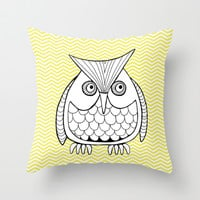 Lemon owl with Chevrons Throw Pillow by Doris & Fred