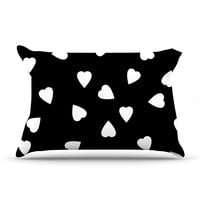"Suzanne Carter ""Hearts White"" Black Pillow Case"