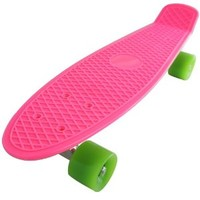 Pk Complete Standard Skateboard Retro Style Banana Board Pink Deck with Selectable Wheel Colors (green wheels)