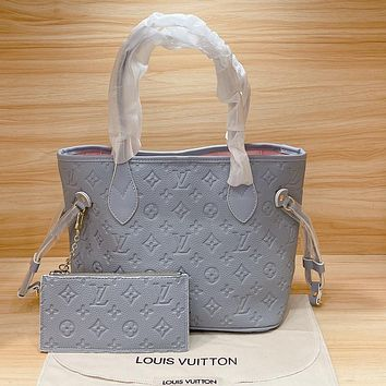 Louis Vuitton LV Neverfull Women's Embossed Shopping Bag Shoulder Bag Wallet Two-Piece Set