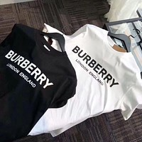 BURBERRY summer new letter logo printing solid color short-sleeved men's and women's T-shirt