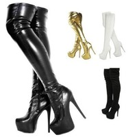 Fashion Thirsty Womens Mens Unisex Over Knee Thigh High Heel Stretch Leather Suede Boots Shoes Size