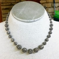 Vtg 1930s Faux Filigree Silver Bead Graduated Choker Necklace Chain Strung Stamp