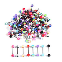 MBOX Stainless Steel Colorful Lip Rings Tongue Rings Navel Rings Piercing Jewelry (Tongue Rings-30PCS)