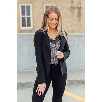 Off To A Good Start Blazer-Black