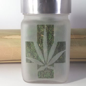 Medical Cross with Pot Leaf Etched Glass Stash Jar - 420 Gift - Medicinal Marijuana Hand Made Etched Glass Stash Jar - 420 Birthday Gift