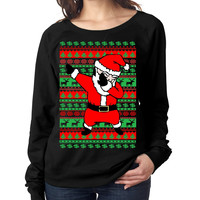 Dabbing santa ugly christmas sweater Women long sleeve shirt