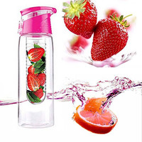 Pink 800mL Sports Healthy Fruit Infusing Water Bottle