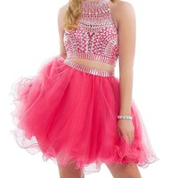 R&J Women's Two Pieces Halter Coral Homecoming Rhinestones Short Formal Prom Dress