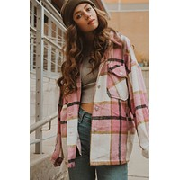 Otto Plaid Shacket in Pink