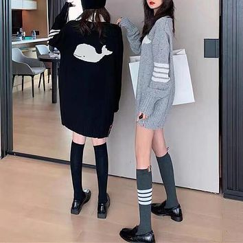 """Burberry"" Women Casual Fashion Whale Pattern Long Sleeve Knitwear Sweater Round Neck Tops"