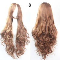 COS Wig Hair Extension woman wigs Hatsune Miku Cosplay Wig long hair wig wigs synthetic hair cap multicolor hair curly wig hair S2312-8