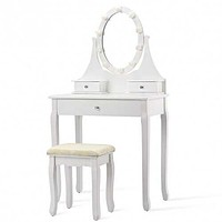 Lighted Mirror Dressing Table Stool Set