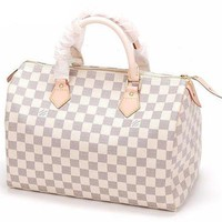 LV Louis Vitton Trending Unisex Tartan Print Travel Luggage Bag Handbag White I