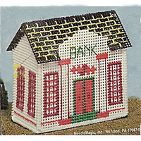 Bank Counted Cross Stitch Kit Stitch Village Building Collectible NMI c228