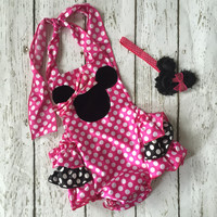 Minnie Mouse Pink and Black Baby Romper Birthday Outfit Cake Smash
