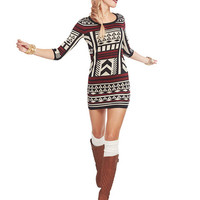 Aztec Print Sweater Dress | Wet Seal