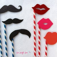 Mustaches and Lips on Paper Straw Set Photo by livelaughlovelots