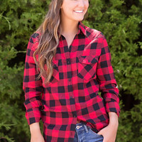 Flannel Button-Up-Red Check