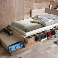 Wood veneer single bed LEGOS | Children's bed Legos Collection by Lola Glamour