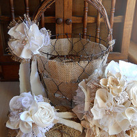 Rustic Shabby Chic Flower Girl Basket and Ring Bearer Heart, burlap, grapevine, chicken wire, lace, rhinestones, pearls. Made to Order.