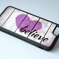 Purple Rustic Wood Phone Case + Believe Inspirational Quote + Silicone Custom Galaxy S4 Case, iPhone 6 Case, iPhone 6 Plus, 6+ Case