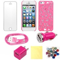 (TRAIT) 7in1 Pink for iphone 5 for iphone 5s back case bird's nest Protector covers for for iphone5s +3* Screen Protector+ 3* Cleaning Cloth