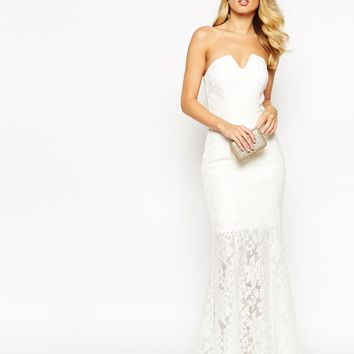 Jarlo Annabelle Fishtail Maxi Dress In All Over Lace