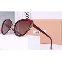 Miumiu Women Trending Popular Summer Sun Shades Eyeglasses Glasses Sunglasses Brown G-A-SDYJ