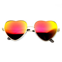 Heart Shape Mirrored Lens Sunglasses