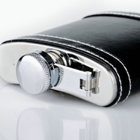 Huntington 5 oz. Stainless Steel Hip Flask with Faux Black Leather (1827 US)