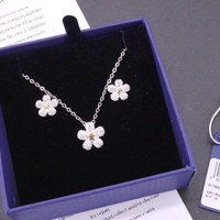 Hcxx 19Oct 529 Fashion Jewelry Swarovski Daisy Flower Necklace Earrings