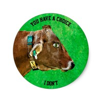 Cow Head With Human Eye Anti Meat Vegan Classic Round Sticker