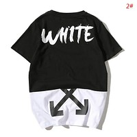 Off White Fashion New Letter Arrow Painting Print Contrast Color Women Men Top T-Shirt 2#