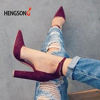 Women Pointed Strappy Pumps Sexy Retro High Thick Heels Lace Up Shoes