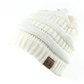 Unisex Trendy Warm Chunky Soft Stretch Cable Knit Slouchy Beanie Skully Ivory One Size